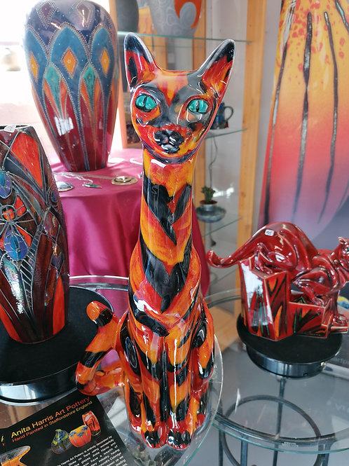 34cm Egyptian cat handpainted in tigerstripe glaze
