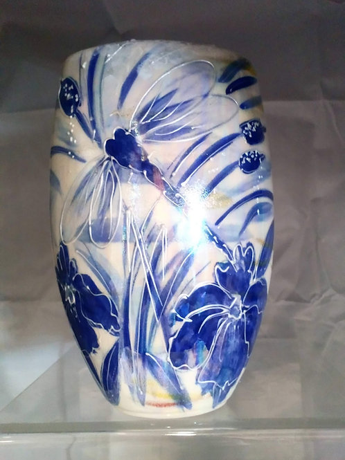 Made to order 16cm oval vase handpainted blue and white dragonfly iris and reeds