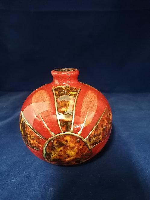 11.5cm Art Deco sun style vase handpainted