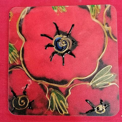 Set of 4 Poppy  handpainted Cork backed coasters