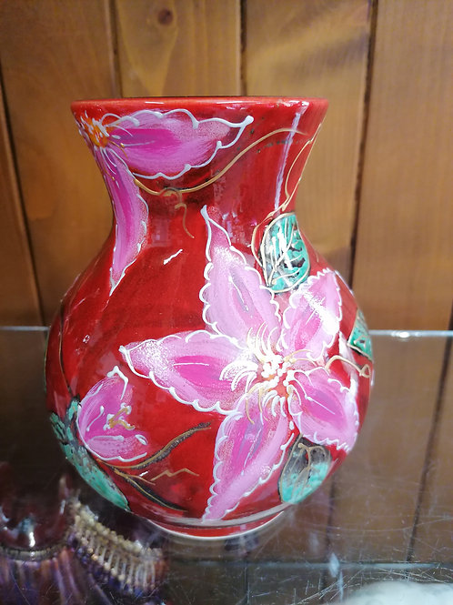 22cm large vase in our handpainted Pillu pink Clematis