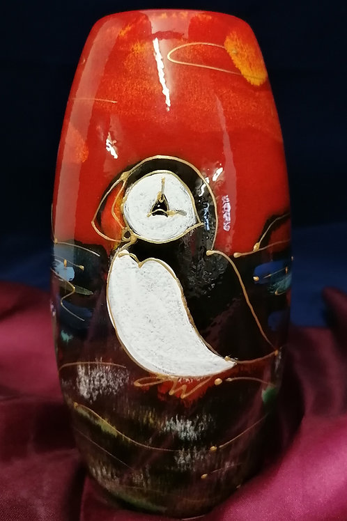 17cm Puffin skittle vase handpainted to order