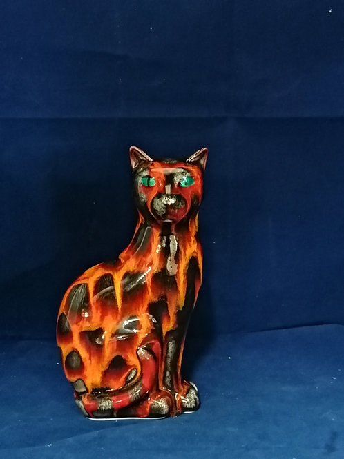 15cm serene cat in our hot coals design hand painted