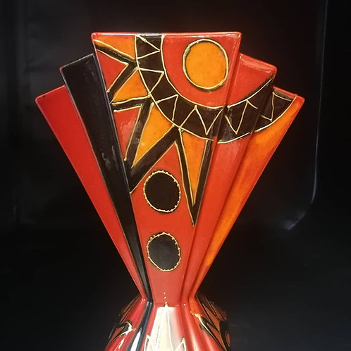 Stunning deco fan vase 28cm handpainted in this striking design with gold detail