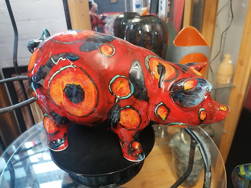 Abstract large Pig painted in abstract design 30cm long in stock ready to ship