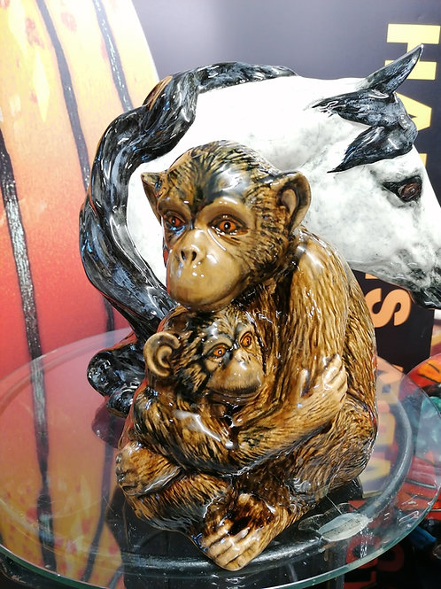 Chimpanzee and baby one of our fav pieces 26cm tall