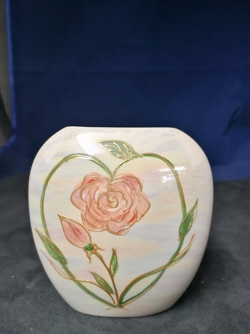 12cm made to order  lustre Rose vase freehand painted