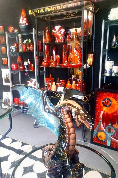 Stunning Stoneware Grand dragon handpainted