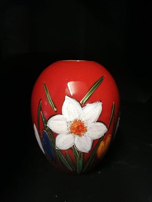 """Spring"" a new design by Anita 16cm vase handpainted"