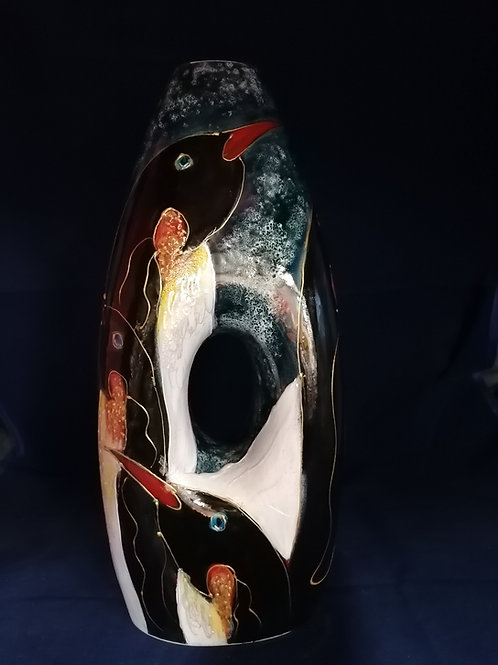 34cm  unique made to order Peephole vase painted  with penguins  on the snow