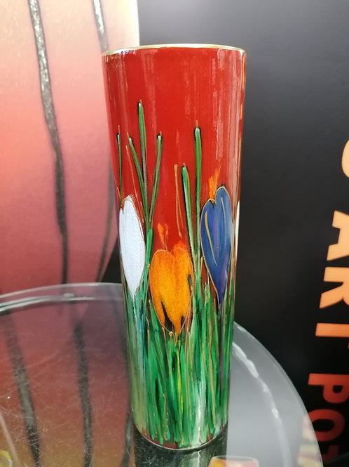 27cm cylinder vase handpainted stunning crocus