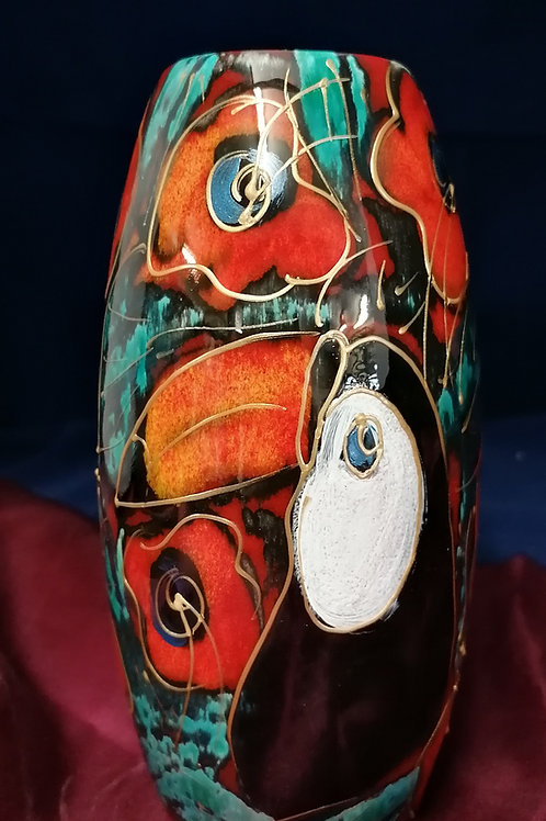 17cm Toucan skittle vase handpainted to order allow 21 days thank you