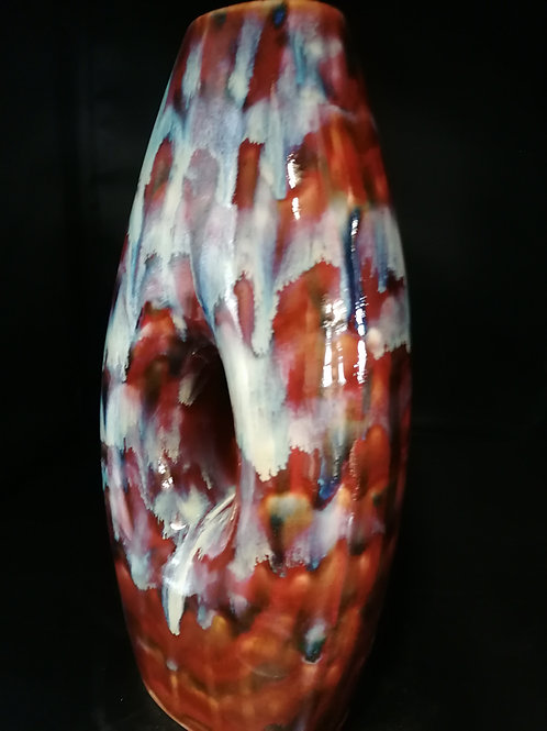 32cm peephole stoneware vase stunning effects and colours, another one of one
