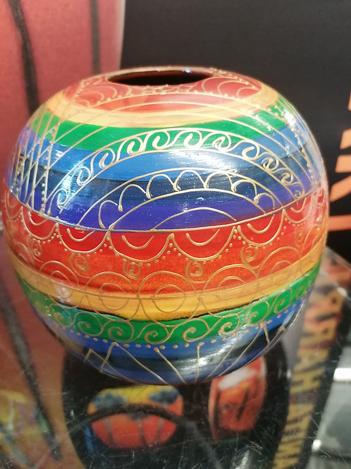 One off  9inch rainbow sphere entirely hand made and hand painted  gold detail