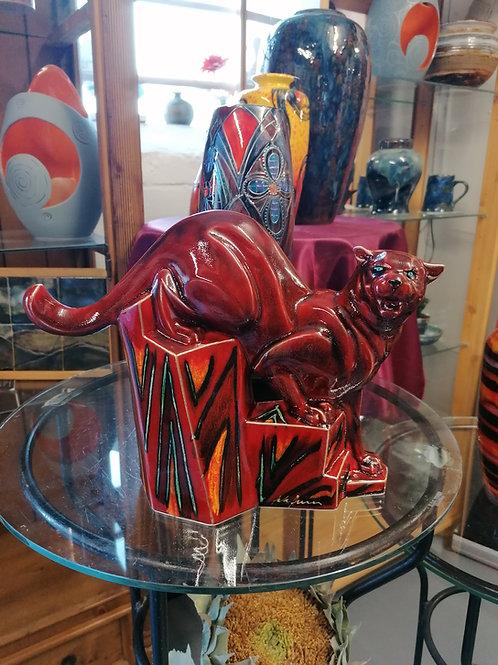 30x24cm Ltd Ed Flambé style Jaguar