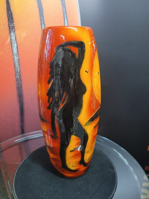 25cm vase featuring the female form with palms at sunset handpainted