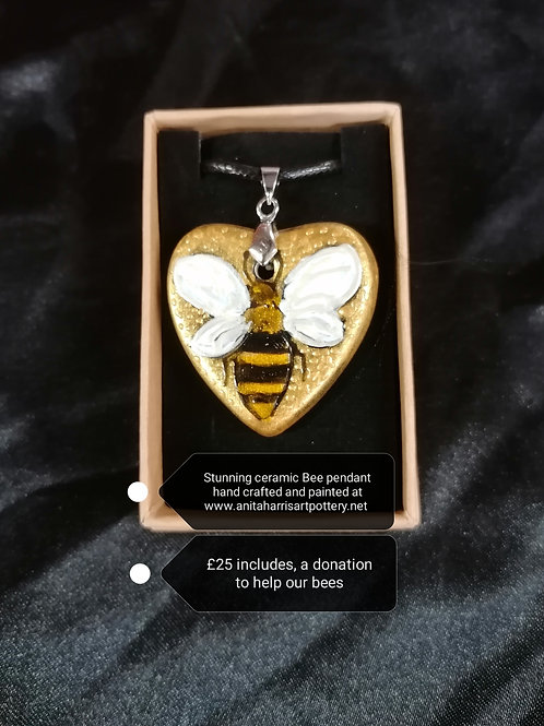 Made to order  handpainted 3cm Gold ceramic Bee pendant
