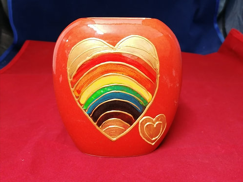 Made to order Hearts Of Gold 12cm hand painted purse vase donations to NHS