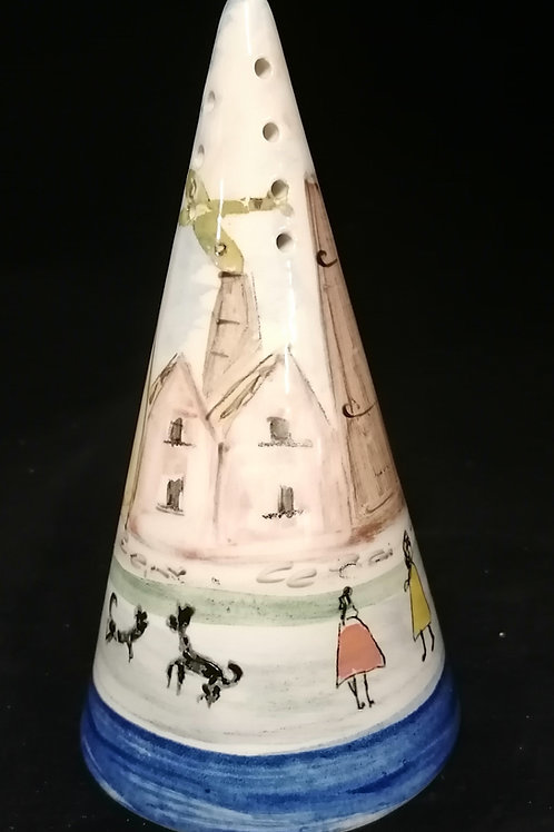 14cm sugar shaker cone The Potteries Homage to LOWRY freehand painted