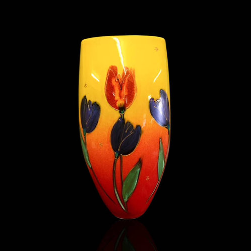 Tulips Triangle Vase 28cm allow 21 days