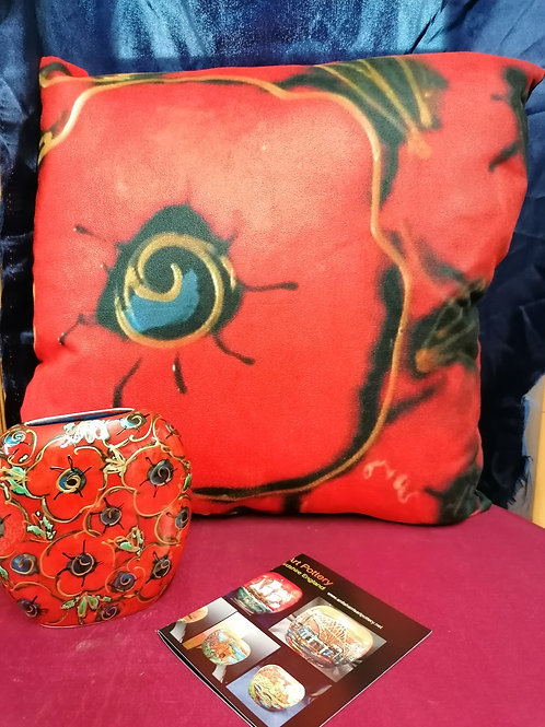 14in Poppy luxury designer cushion  inspired by our ceramics