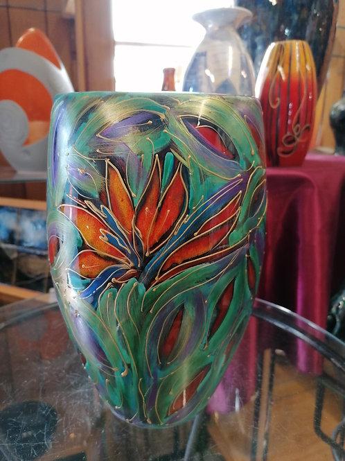 25cm Nirvan vase stunning colours handpainted