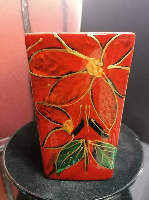 Poinsettia handpainted 15cm Square vase with gold detail