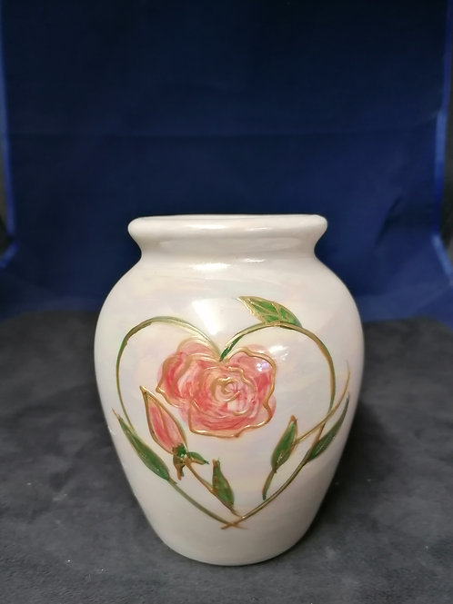 14cm made to order lustre vase with a rose and buds entwined within a heart 0