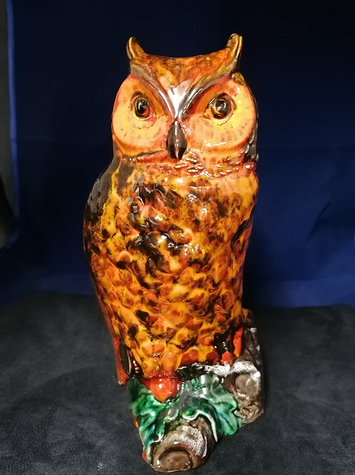 11 ins (28cm) tall large unique  owl figure hand painted with stunning glazes
