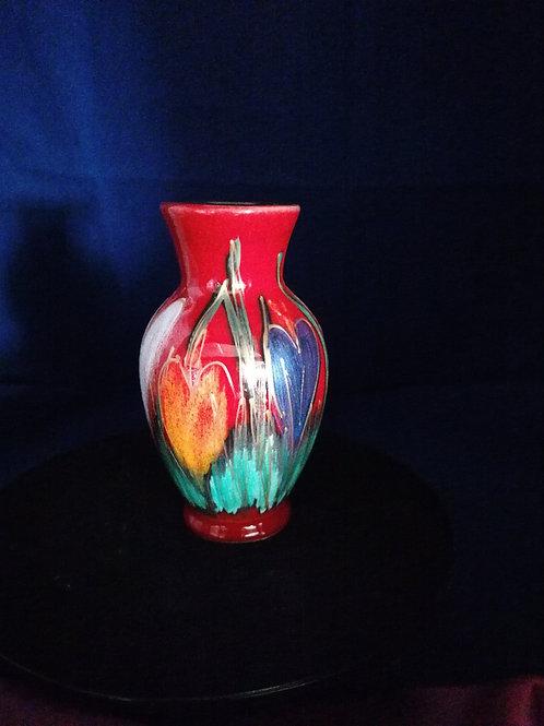 Crocus handpainted 11cm vase