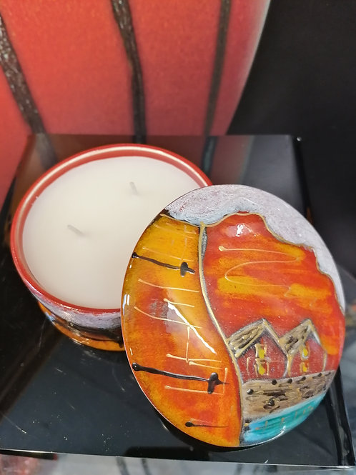 In stock stunning scented 3 wick potteries candle in 5 inch round dish