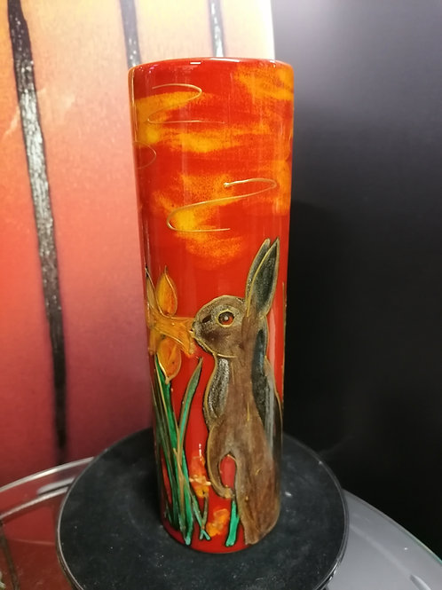 We love these 24cm cylinder vase with a  rabbit sniffing at a Daffodil