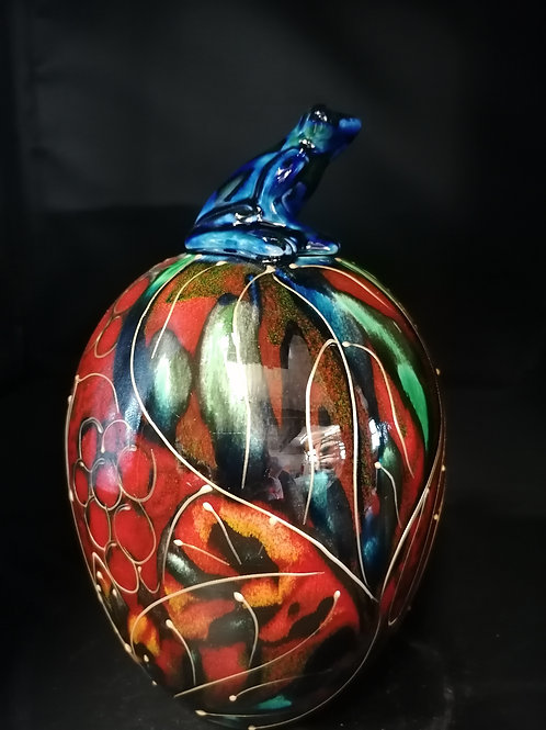 Rainforest 22cm pot/jar hand made and hand painted with stunning glazes
