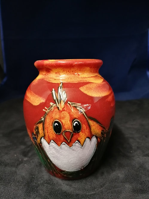 14cm fun and quirky Easter chick handpainted fun vase