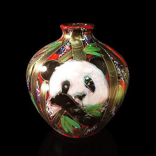 Handpainted Panda vase 26 cm large round wildlife vase