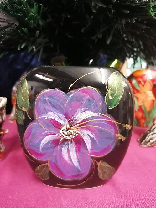12cm handpainted hibiscus vase