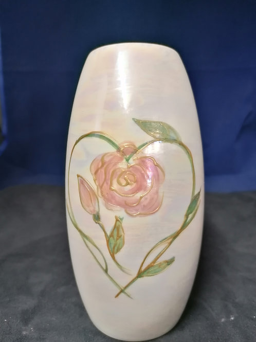17cm made to order delicate lustre Rose heart hand painted  design
