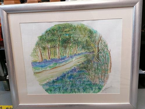 Circa 2006 Bluebell Wood Watercolour original painted by Anita