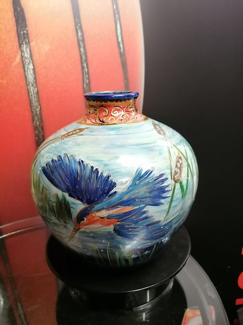 22cm tall and 22cm wide this substantial  vase is a one  off, hand painted