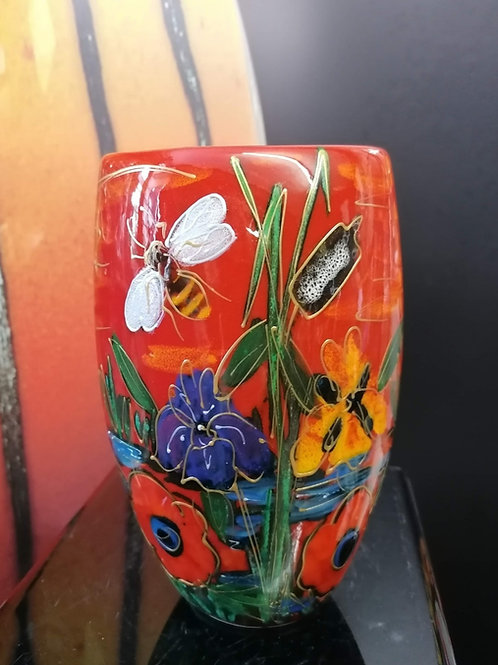 19cm oval vase. Handpainted in our Honey Bee Brook design stunning