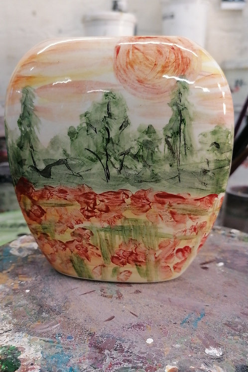 12cm vase Homage to Monet Watercolour style impressionistic