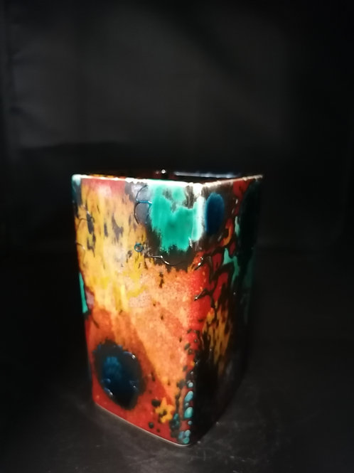 Supernova, 14cm Square vase stunning and unique  explosion of colours