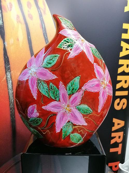 Stunning large 32cm teardrop vase painted pink Clematis Pillu