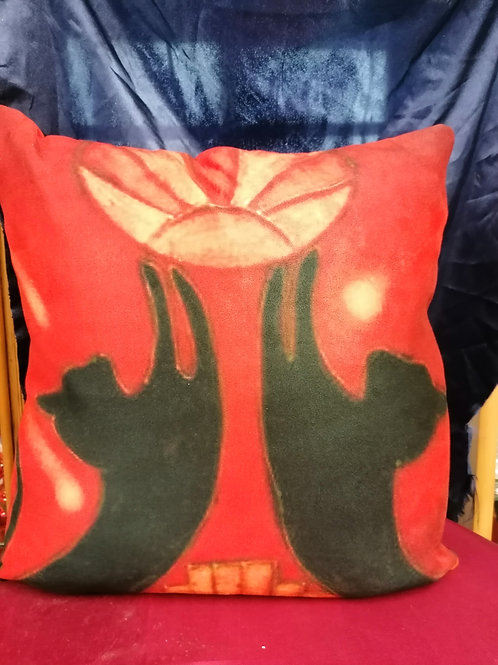 14in luxury faux suede Deco cats cushion inspired by our ceramic design