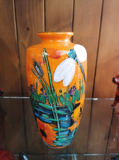 21cm vase stunningly painted with dragonflies Iris and poppies