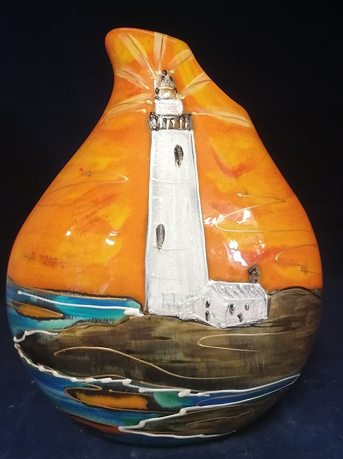 23cm teardrop vase handpainted lighthouse made  to order please allow 21days