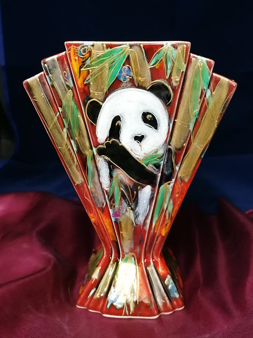 26cm  Panda fan vase handpainted to order allow 21 days thank you