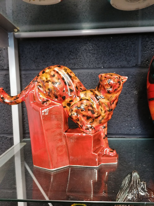 10in stunning cougar hand painted with stunning glazes