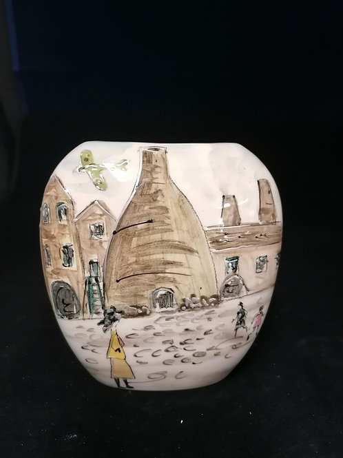 12cm purse vase The Potteries Homage to Lowry Gladstone Museum freehand painted