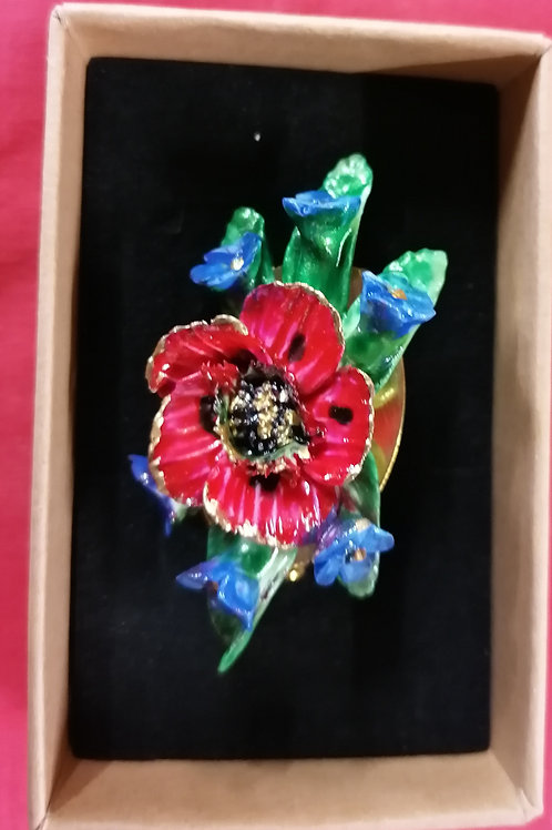 In stock 5cm poppy and forget me not hand made hand painted brooch